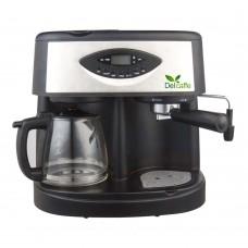 Espressor Delcaffe Combi 3 in 1 , 15 bari, 1.25 l, Functie spumare, programare,  espressor  si un filtru de cafea in acelasi aparat,, Negru