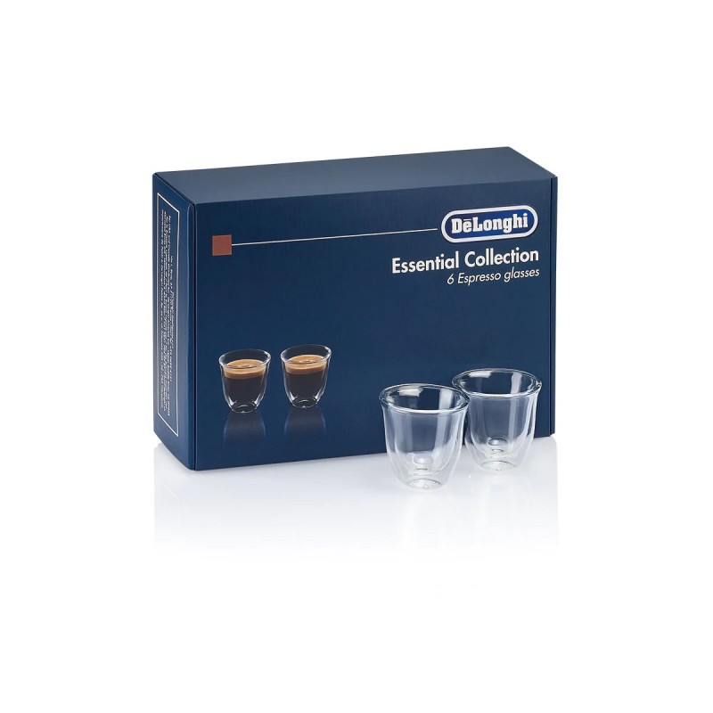 Set 6 pahare espresso DeLonghi Essential Collection, 6x60ml, Sticla termorezistenta, Transparente, Perete dublu