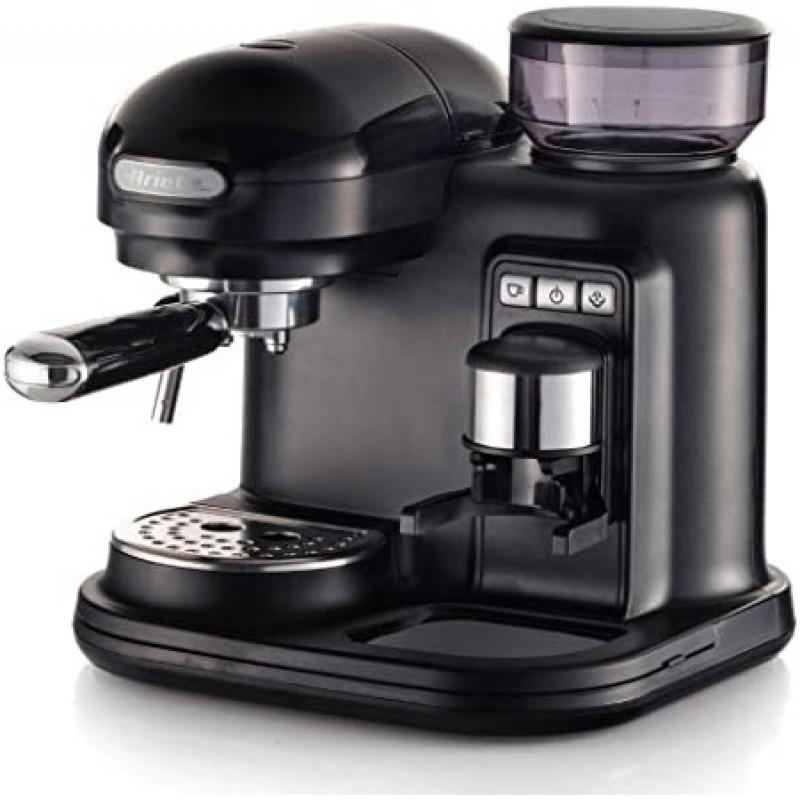 Espressor manual Ariete Moderna, 1318BK Negru, 1080w, Rasnita incorporata, Sistem cappuccino, 15 Bar